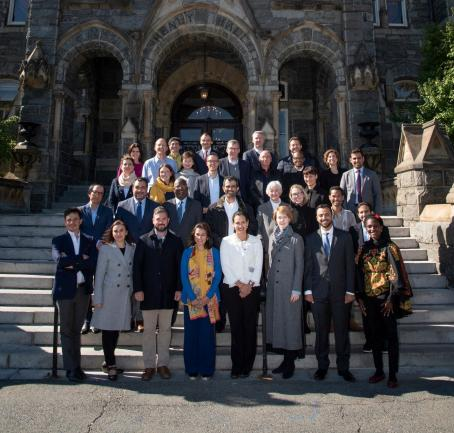 Photo of  Leadership Seminar in front of Healy Hall